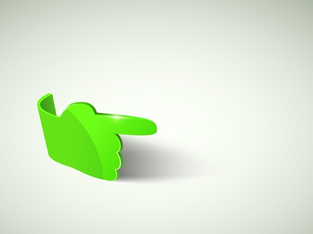 Vector background 3d green glass hand with place for text  Web element
