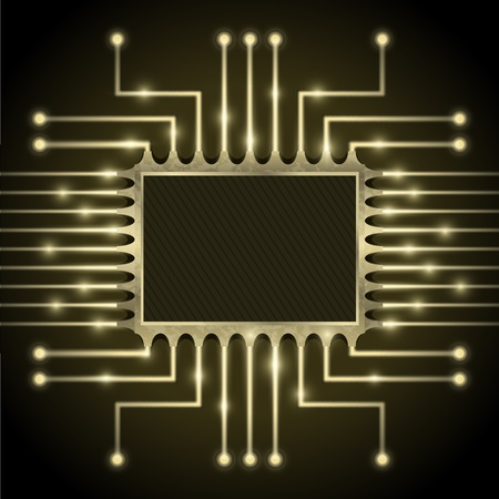 circuito electrico: Vector chip en la placa base Vectores