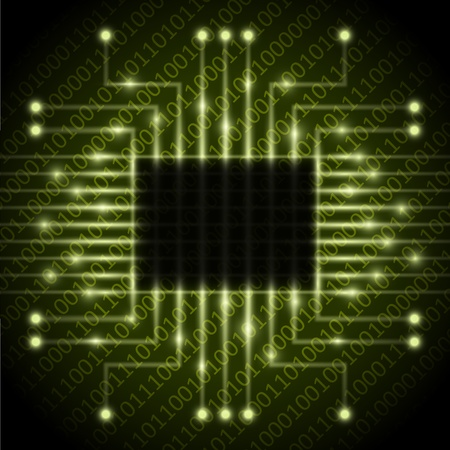 microprocessors: Vector chip on the number background  Illustration