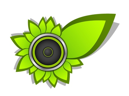 Sound speaker with green foliage  Part of music set  Vector