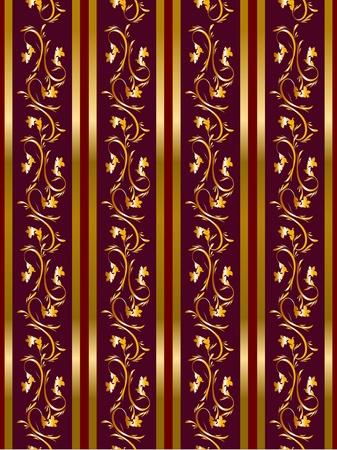 ゴールデン フリーズ パターンの一部とのシームレスな花の背景ベクトル壁紙を設定  イラスト・ベクター素材