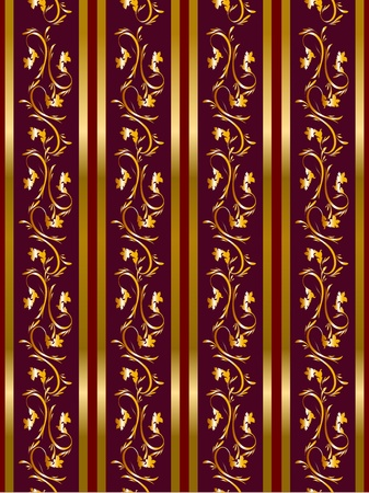 Seamless floral background with golden frieze  Part of pattern set  Vector wallpaper