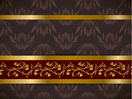 Seamless floral background with golden frieze  Part of pattern set  Vector wallpaper  Vector