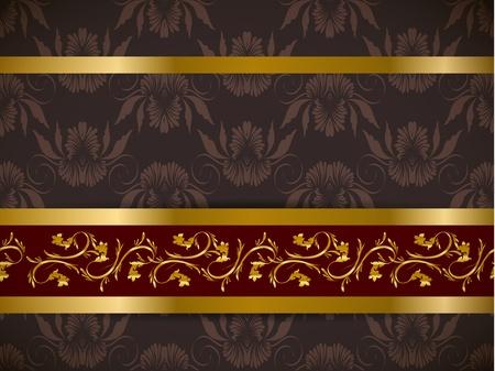 friso: Seamless floral con la parte friso de oro del patr�n establecido fondos de escritorio de Vector