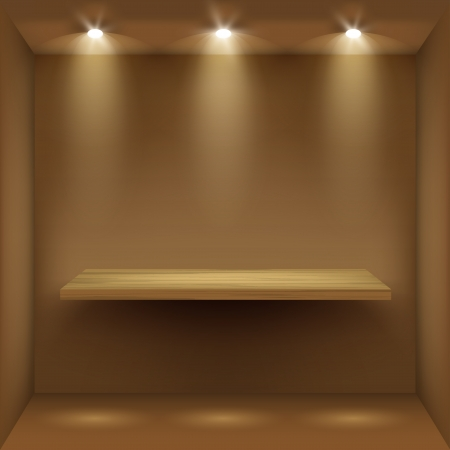 Empty wooden shelf in room, illuminated by searchlights  Part of set  Vector interior