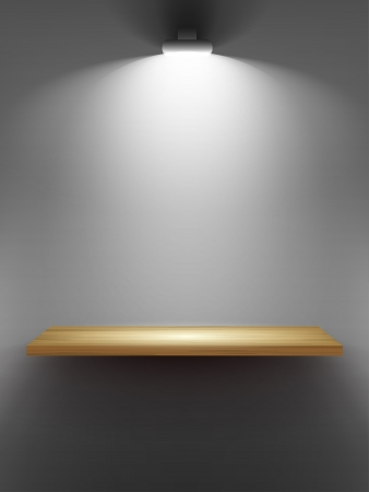 Empty wooden shelf on the wall, illuminated by searchlights  Part of set  Vector interior