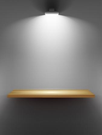 �tag�re bois: Vider �tag�re en bois sur le mur, �clair� par des projecteurs partie de l'int�rieur Vecteur ensemble