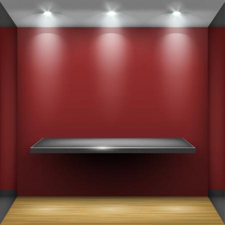showcase interior: Acciaio scaffale vuoto in sala rossa, illuminata da proiettori parte dell'interno set Vector Vettoriali