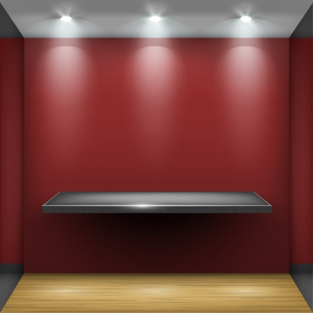 mall interior: Empty steel shelf in red room, illuminated by searchlights  Part of set  Vector interior  Illustration