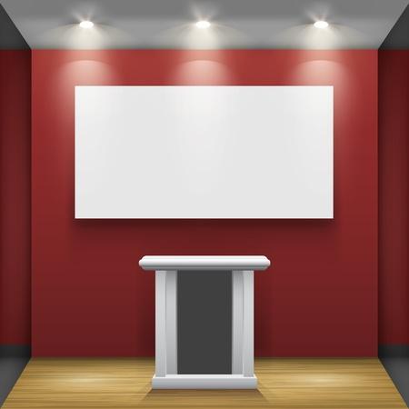 投光照明セット ベクトル インテリアの一部に照らされた壁にトリビューンと白枠付きの赤い部屋