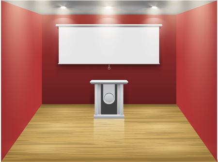 lamp stand: Red room with tribune and white screen on the wall, illuminated by floodlights  Part of set  Vector interiors  Illustration