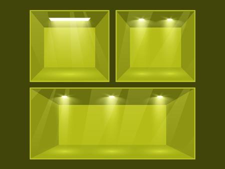 showcase interior: Locale green set illuminato da proiettori parte dell'interno set Vector