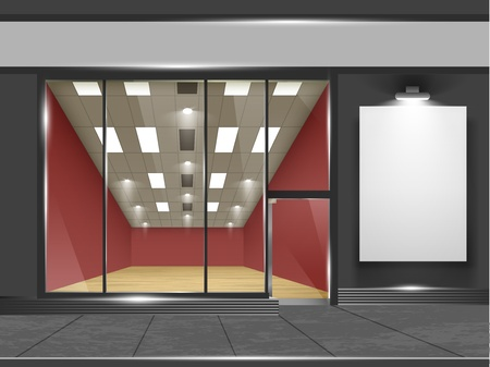 exterior element: Shop with glass windows and doors, front view  Part of set  Vector exterior