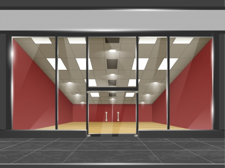 shop interior: Shop with glass windows and doors, front view  Part of set  Vector exterior