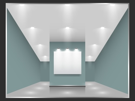 Exhibition hall with white frames on the wall, illuminated by floodlights  Part of set  Vector