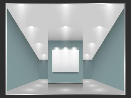 exposition art: Hall d'exposition avec des cadres blancs sur le mur, �clair� par des projecteurs de la partie ensemble