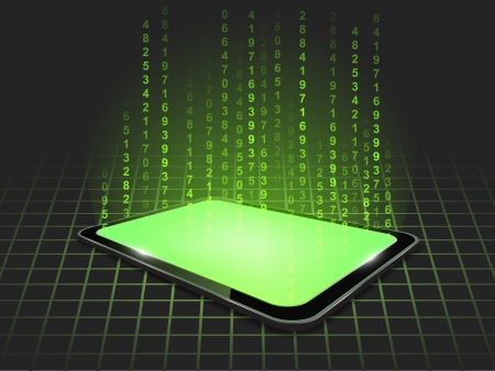 Vector background with 3d touch tablet model with green figures hologram  Part of technical gadget set