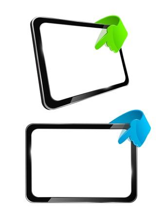 gadget: Vecteur 3d mod�le tablette tactile � la partie la main �clat de verre de s�rie gadget technique