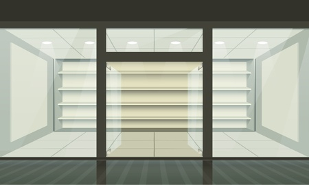 shop front: Shop with glass windows and doors, front view. Vector exterior.