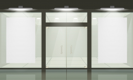 shops: Shop with glass windows and doors, front view. Vector exterior.
