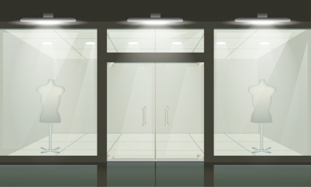 showcase interior: Negozio con vetrate e porte, vista frontale. Vector esterno. Vettoriali