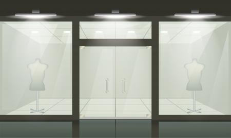 store window: Shop met glazen ramen en deuren, vooraanzicht. Vector buitenkant. Stock Illustratie