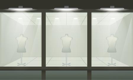 店の正面のガラス窓。ベクトルの外観。  イラスト・ベクター素材