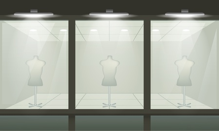 Shop with glass windows, front view. Vector exterior.