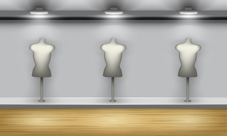 Shop showcase with three mannequins, front view. Vector interior. Illustration