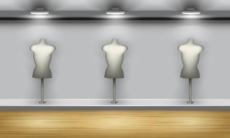 showcase interior: Vetrina di negozio con tre manichini, vista frontale. Vector interni.