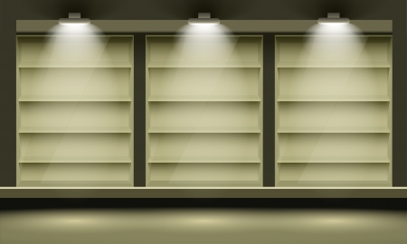 Empty shelves, illuminated by searchlights. Vector interior. Ilustrace
