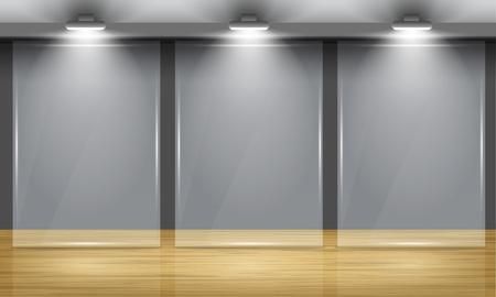 木製の床とサーチライトに照らされた部屋の真ん中に 3 つのグラス フレームの展示ホール。ベクトルのインテリア。