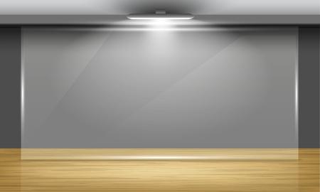サーチライトに照らされた部屋の真ん中に木製の床とガラス フレームの展示ホール。ベクトルのインテリア。  イラスト・ベクター素材
