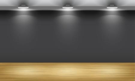 サーチライトに照らされた木の床の展示ホール。ベクトルのインテリア。