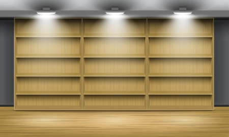 shop floor: Empty wooden shelves, illuminated by searchlights. Vector interior.