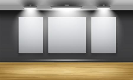 木製の床と 3 つのフレーム セットの一部の投光照明に照らされた壁に展示ホール  イラスト・ベクター素材
