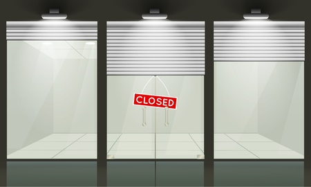 glass doors: Shop with glass windows and doors, front view  Vector exterior  Illustration