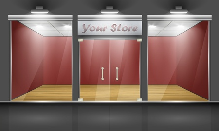 Shop with glass windows and doors, front view  Part of set  Vector