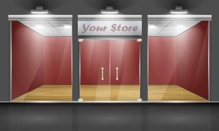 store window: Winkel met glazen ramen en deuren, vooraanzicht deel van de set Stock Illustratie