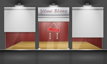 Shop with glass windows and doors, front view  Part of set  Vector exterior  Vector