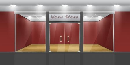 Shop met glazen ramen en deuren, vooraanzicht Onderdeel van set Vector exterieur