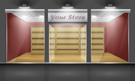 store window: Shop met glazen ramen en open deuren, vooraanzicht Onderdeel van set Stock Illustratie