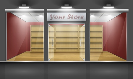 Shop with glass windows and open doors, front view  Part of set   Vector