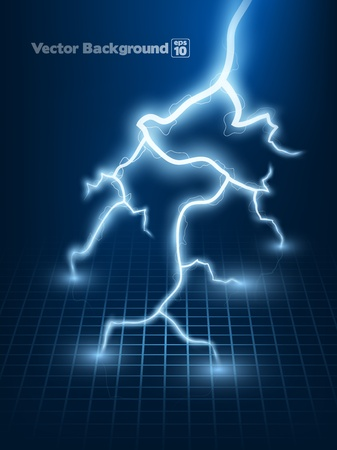 electric shock: Vector abstract blue lightning flash background