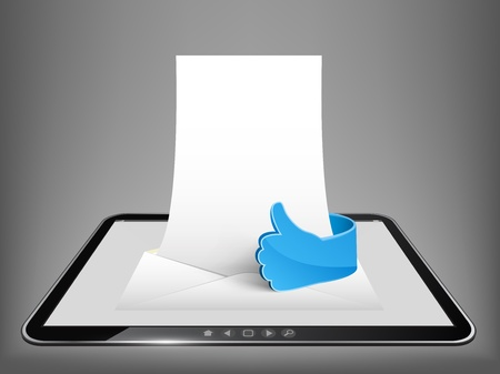 Vector 3d touch tablet with envelope, empty paper and shine glass hand  Part of technical gadget set  Illustration