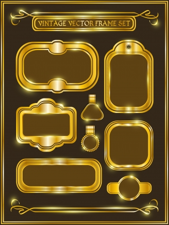 Vintage gold frame labels set  Vector vintage collections  Vector