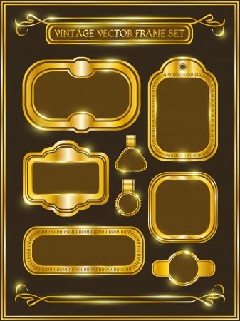 vintage gold frame: Vintage gold frame labels set  Vector vintage collections
