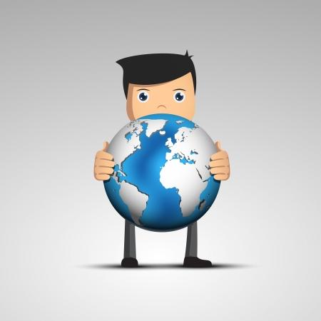 スーツの漫画男ベクトル文字の手で地球を保持します。