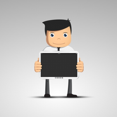 Cartoon man in a suit hold touch tablet model in hand  Vector character  Ilustrace