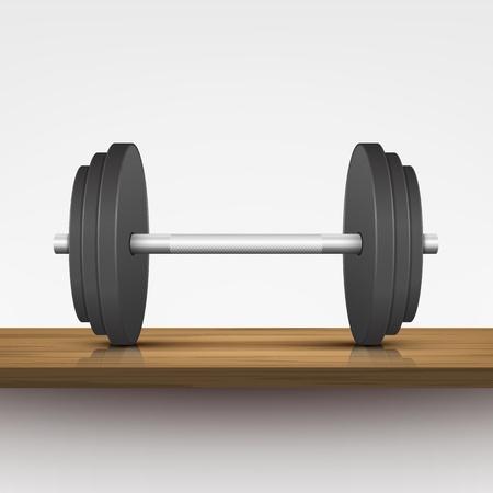 �tag�re bois: Steel halt�re sur le plateau en bois Illustration